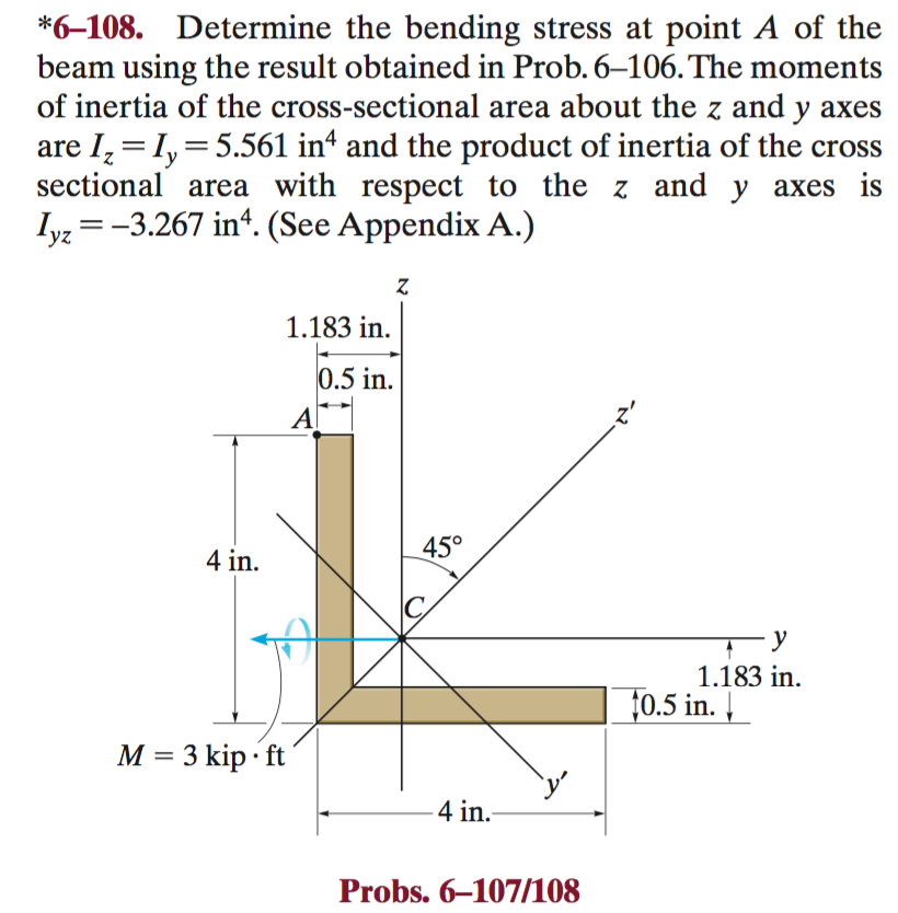 Solved: Determine The Bending Stress At Point A Of The Bea