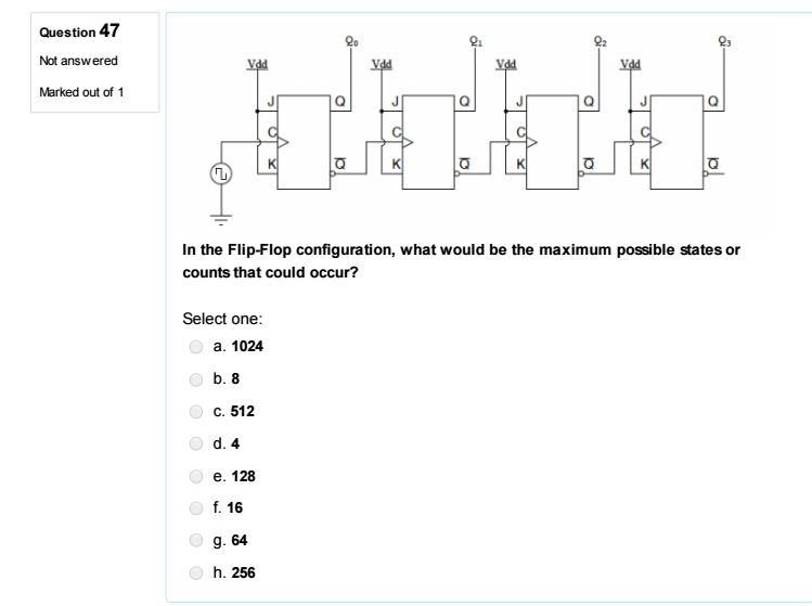 462682f8fd04 Question 47 Not answered Marked out of 1 92 In the Flip-Flop configuration