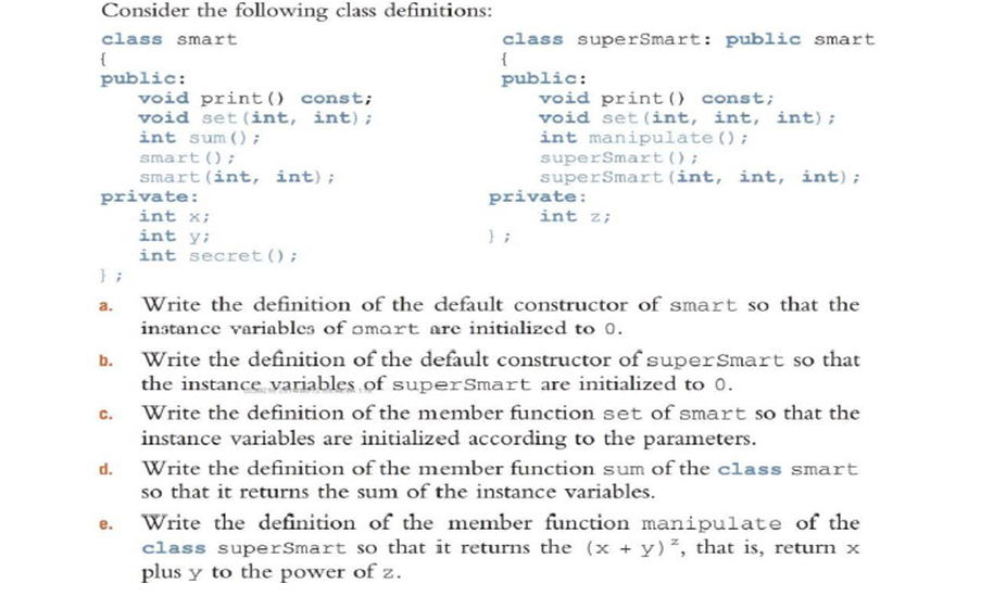 Image For Consider The Following Class Definitions: A. Write The Definition  Of The Default