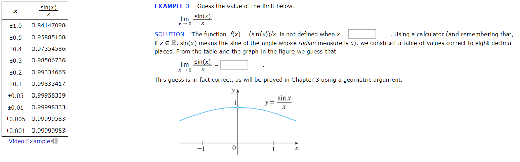Solved: Sin(x) EXAMPLE 3 Guess The Value Of The Limit Belo