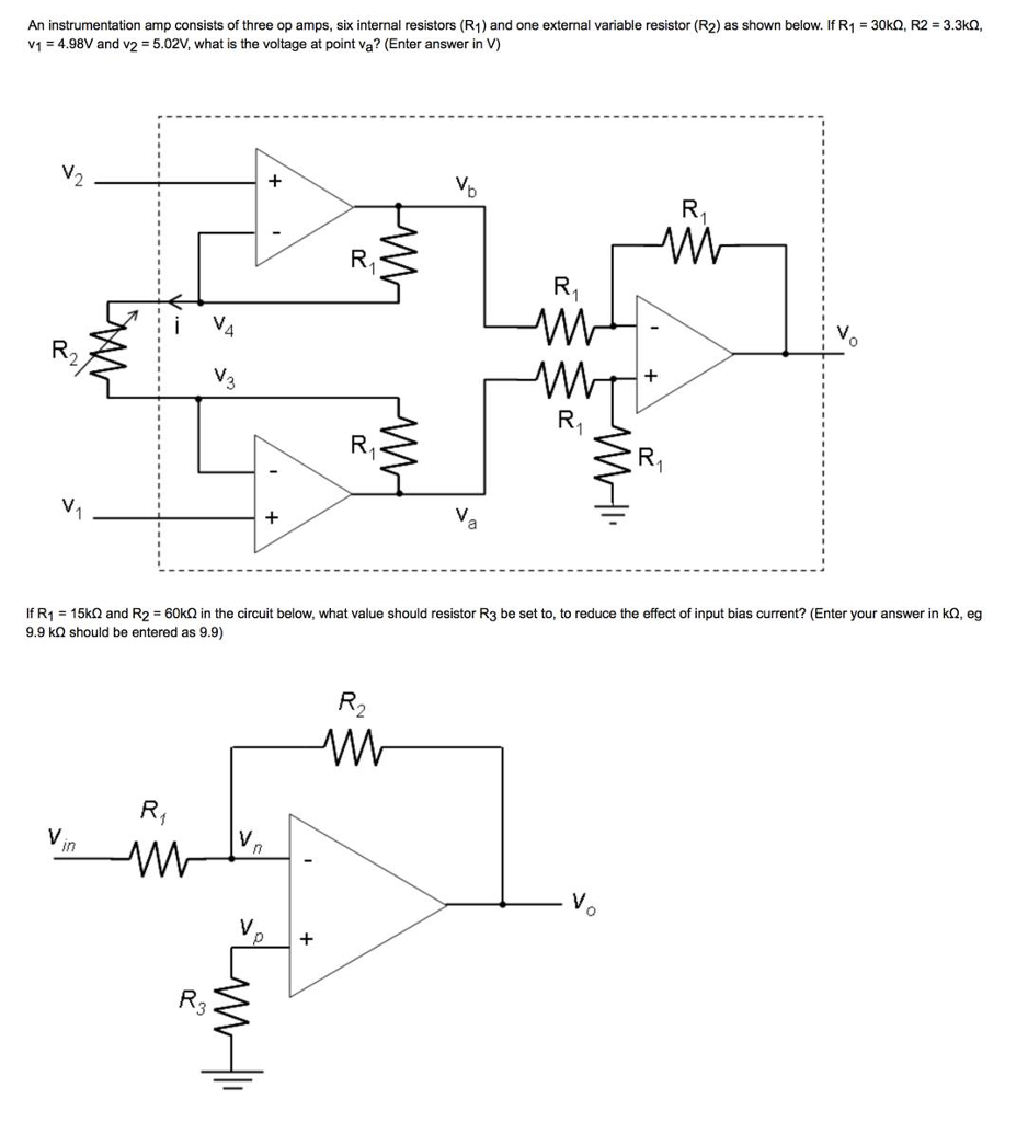 Solved An Instrumentation Amp Consists Of Three Op Amps Current Circuit Composed Amplifier Amplifiercircuit