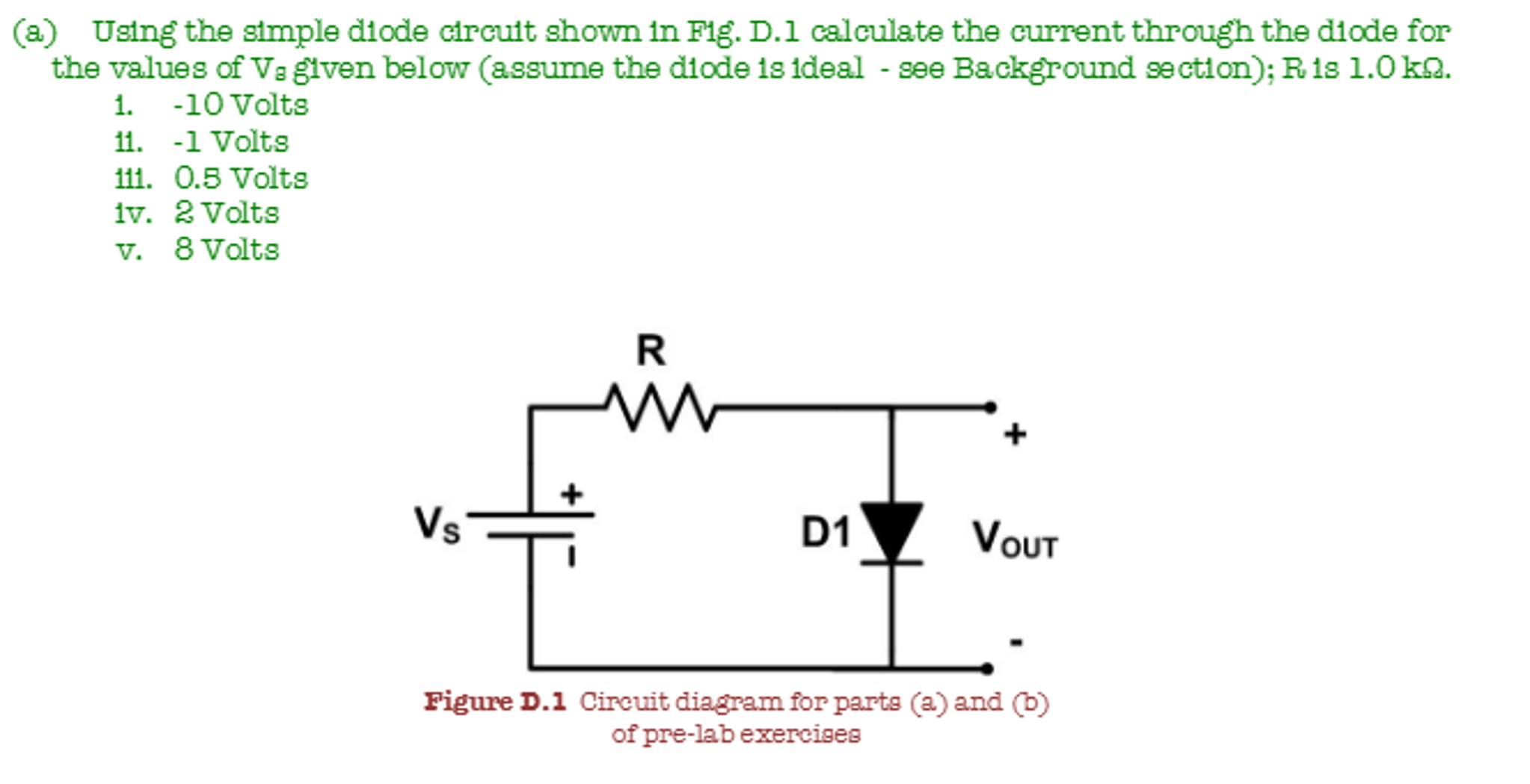 Solved B Repeat Parts A Iii Iv And V Using The Cons 5 Volt Circuit Diagram Simple Diode Shown In Fig D 1