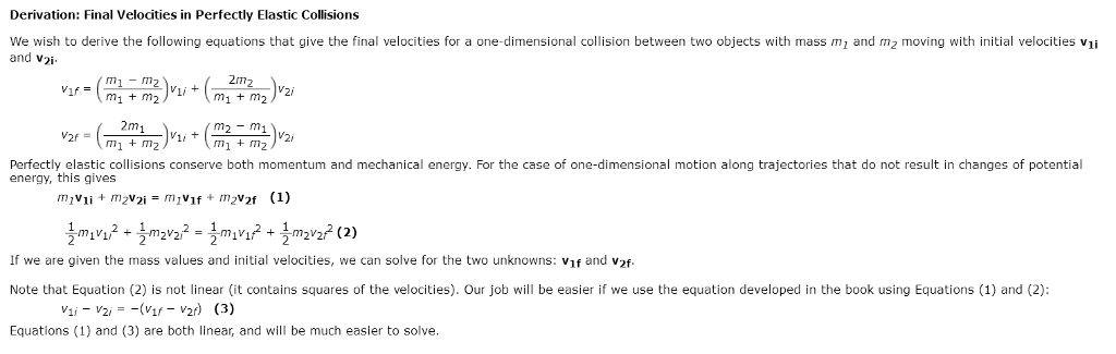 Solved Perfectly Elastic Collisions Conserve Both Momentu Chegg Com