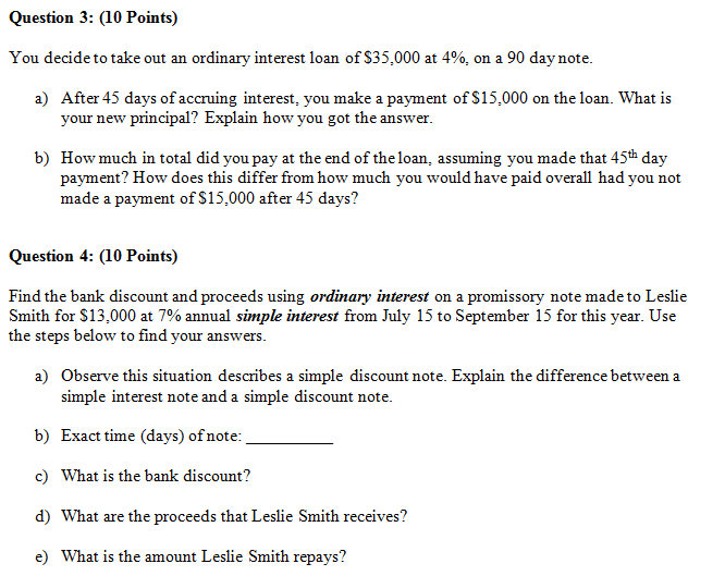 Solved: Question L: Points A) State The Simple Interest Fo...