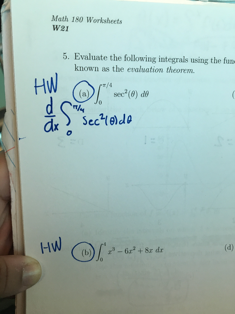 Solved: Math 180 Worksheets W21 5. Evaluate The Following ...