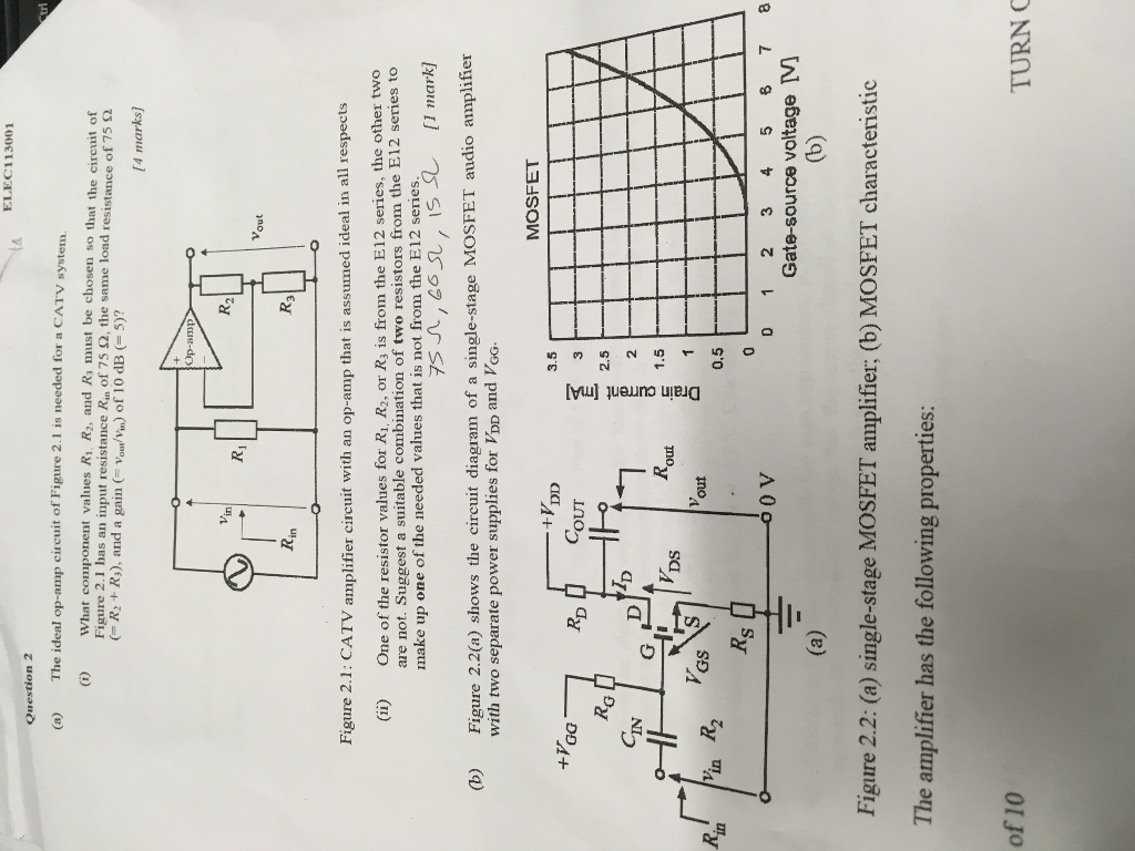 Solved Elec 113001 Question 2 A The Ideal Op Amp Circu Mosfet Power Amplifier Circuit Diagrams Of Figure