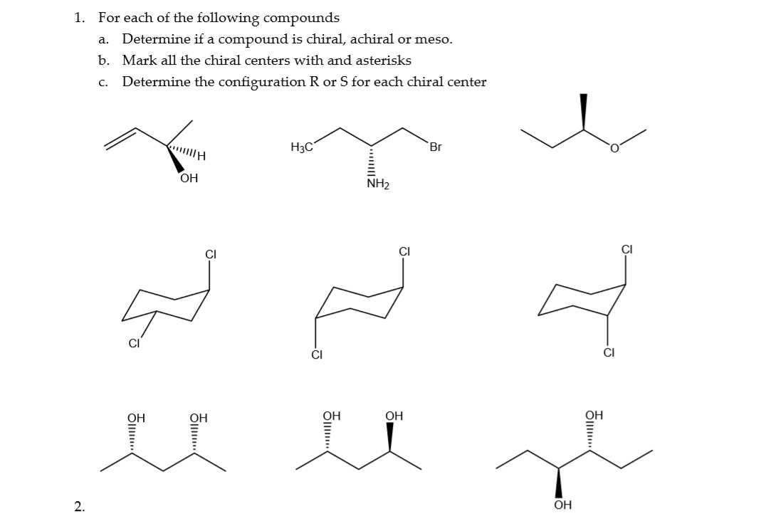 Solved 1 For Each Of The Following Compounds A Determin