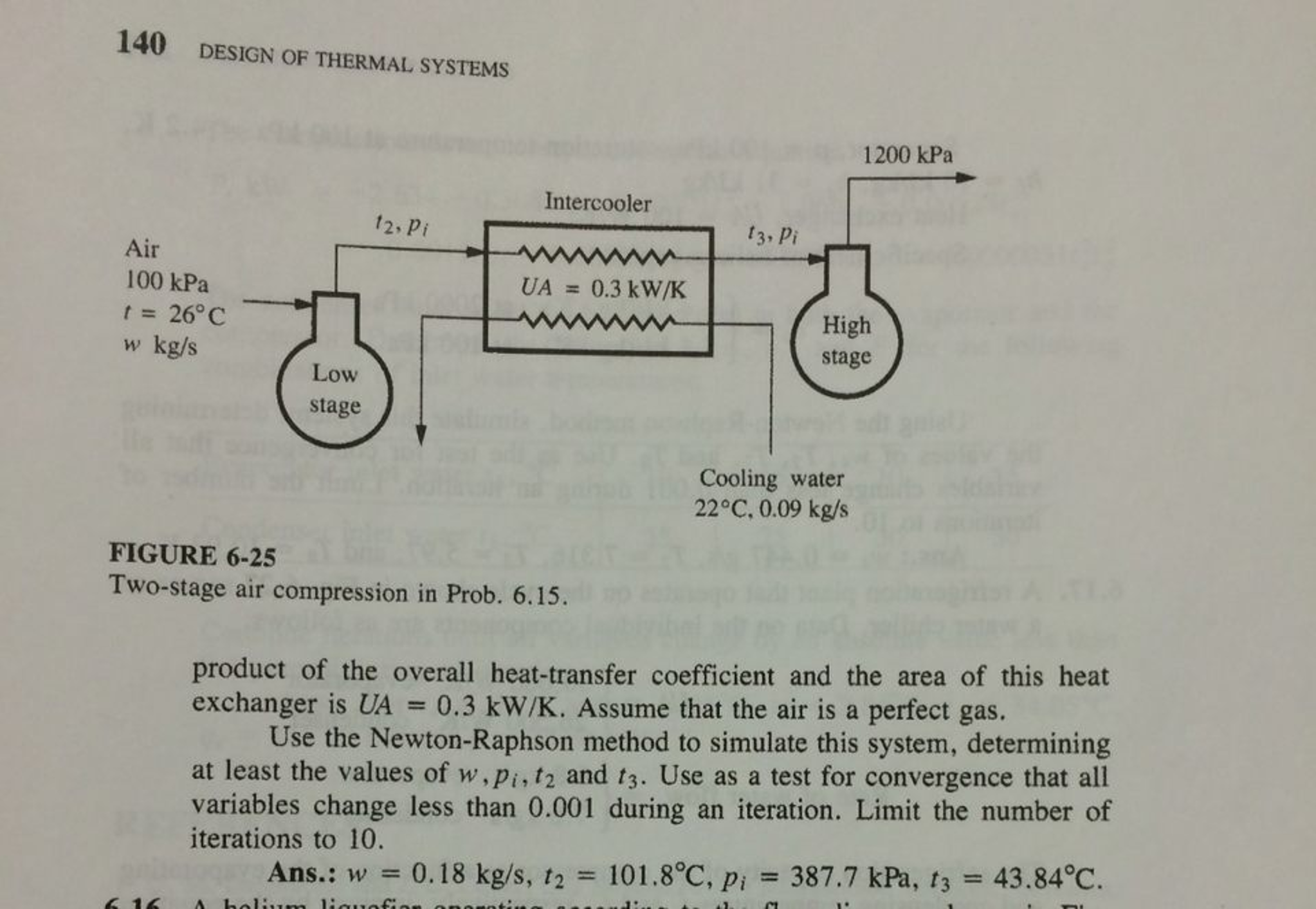 """Question: PROBLEM #6.15 for Stoecker """"Design of Thermal Systems"""". Displayed  in Pictures Below A two-stage a."""