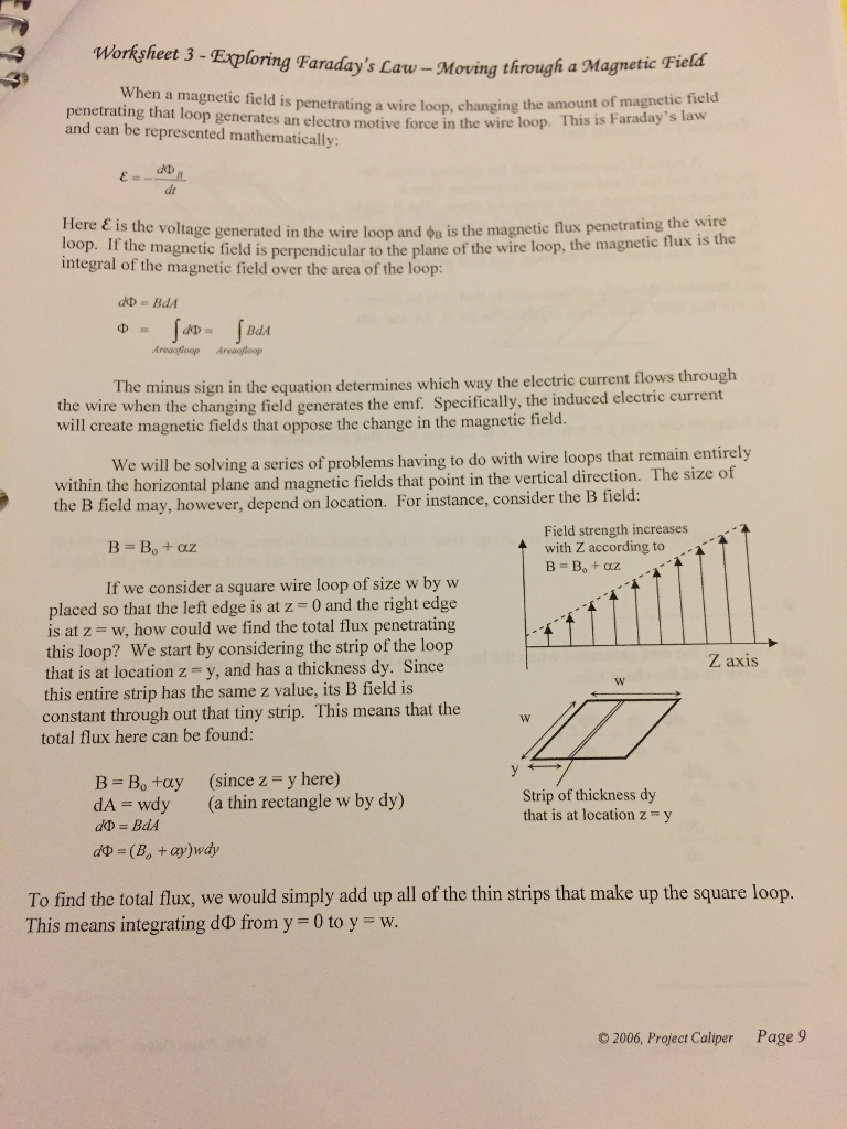 Solved: Worksheet 3-Exploring Faraday\'s Law-Moving Through ...