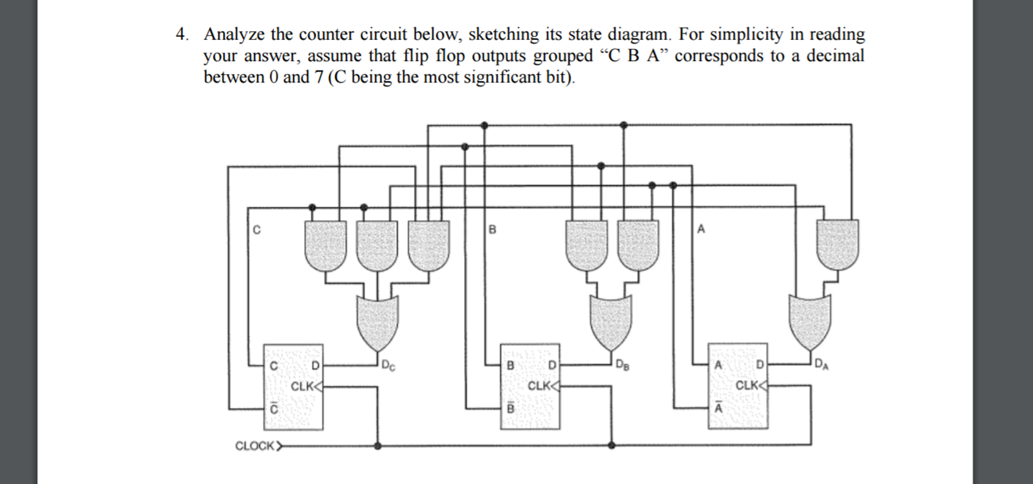 Solved Analyze The Counter Circuit Below Sketching Its S