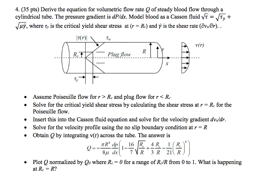 Solved pts derive the equation for volumetric flo