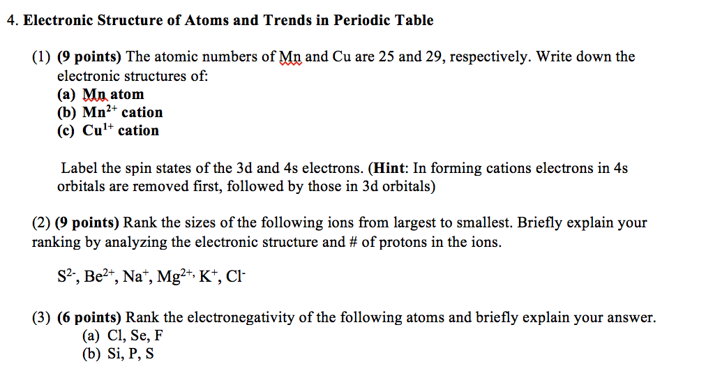 Solved electronic structure of atoms and trends in period electronic structure of atoms and trends in periodic table 1 9 urtaz Gallery