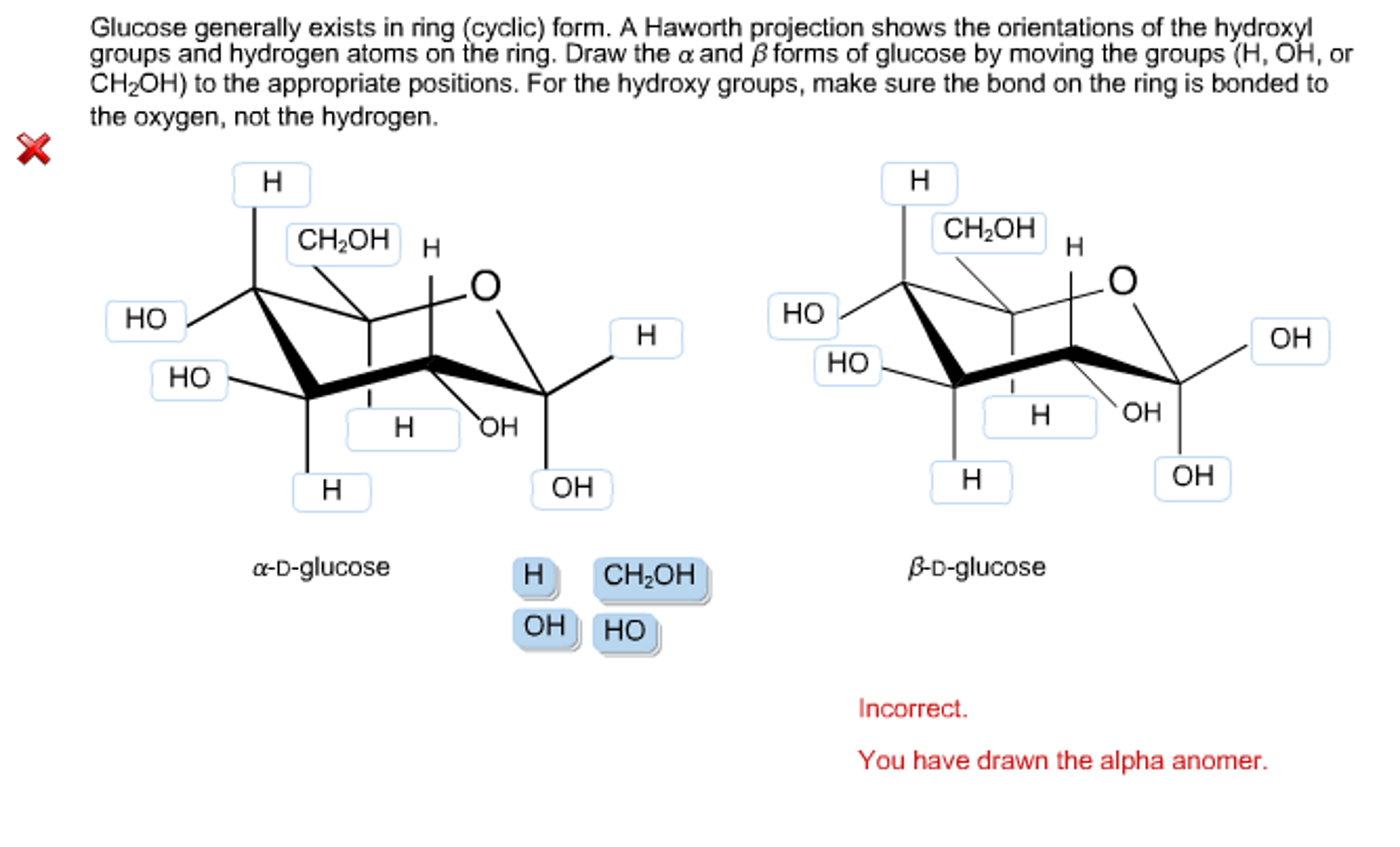 glucose generally exists in ring (cyclic) form  a