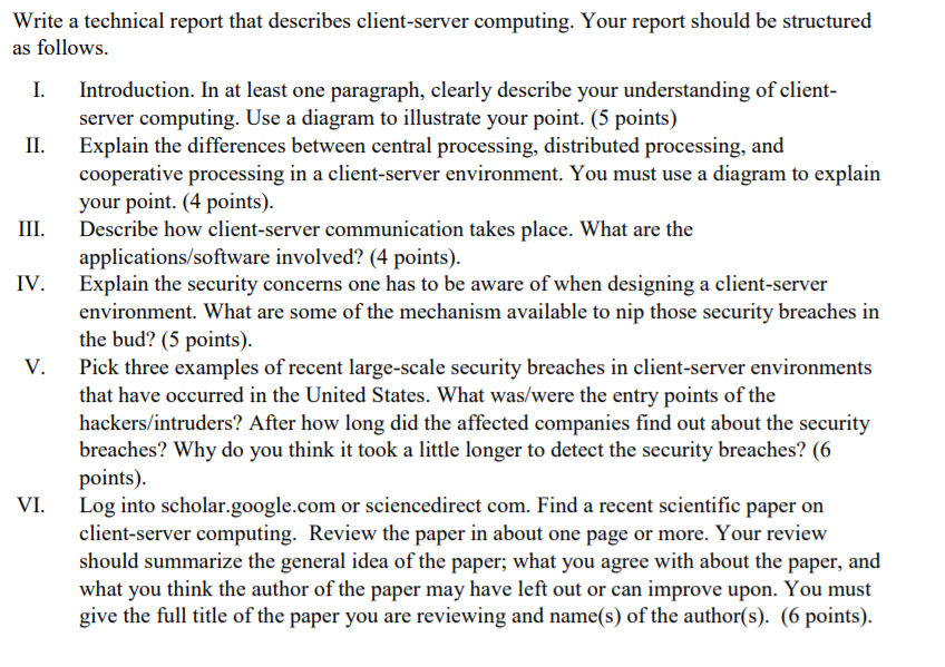 how a report should be structured