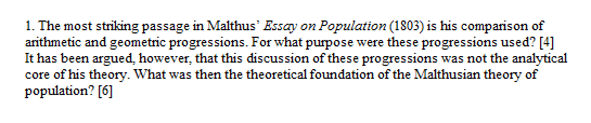 Solved The Most Striking Passage In Malthus Essay On Pop  Question The Most Striking Passage In Malthus Essay On Population   Is His Comparison Of Arithmetic