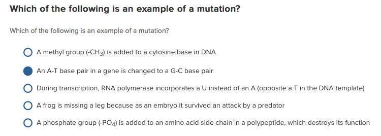 Solved Which Of The Following Is An Example Of A Mutation