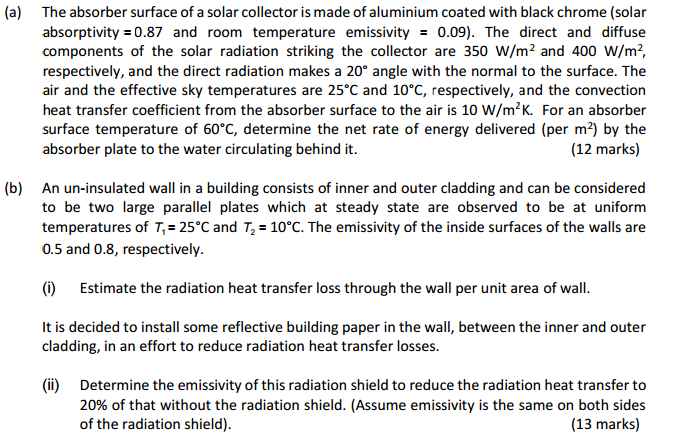 Solved: (a) The Absorber Surface Of A Solar Collector Is M
