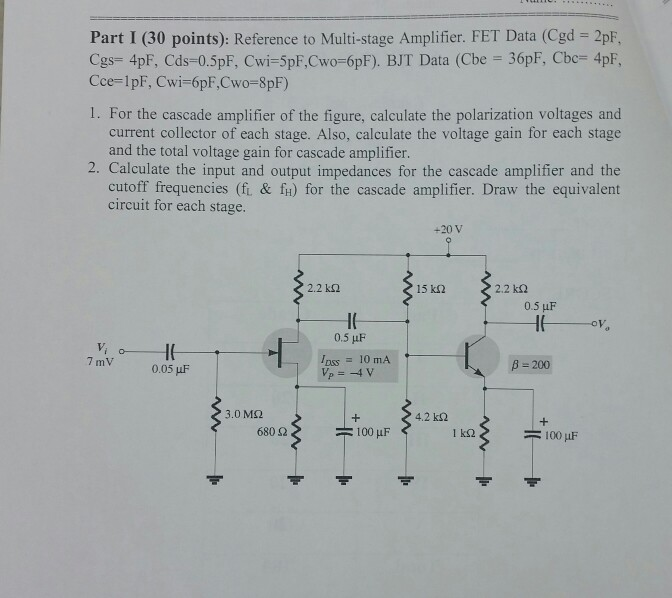 Solved: Reference To Multi-stage Amplifier  FET Data (Cgd