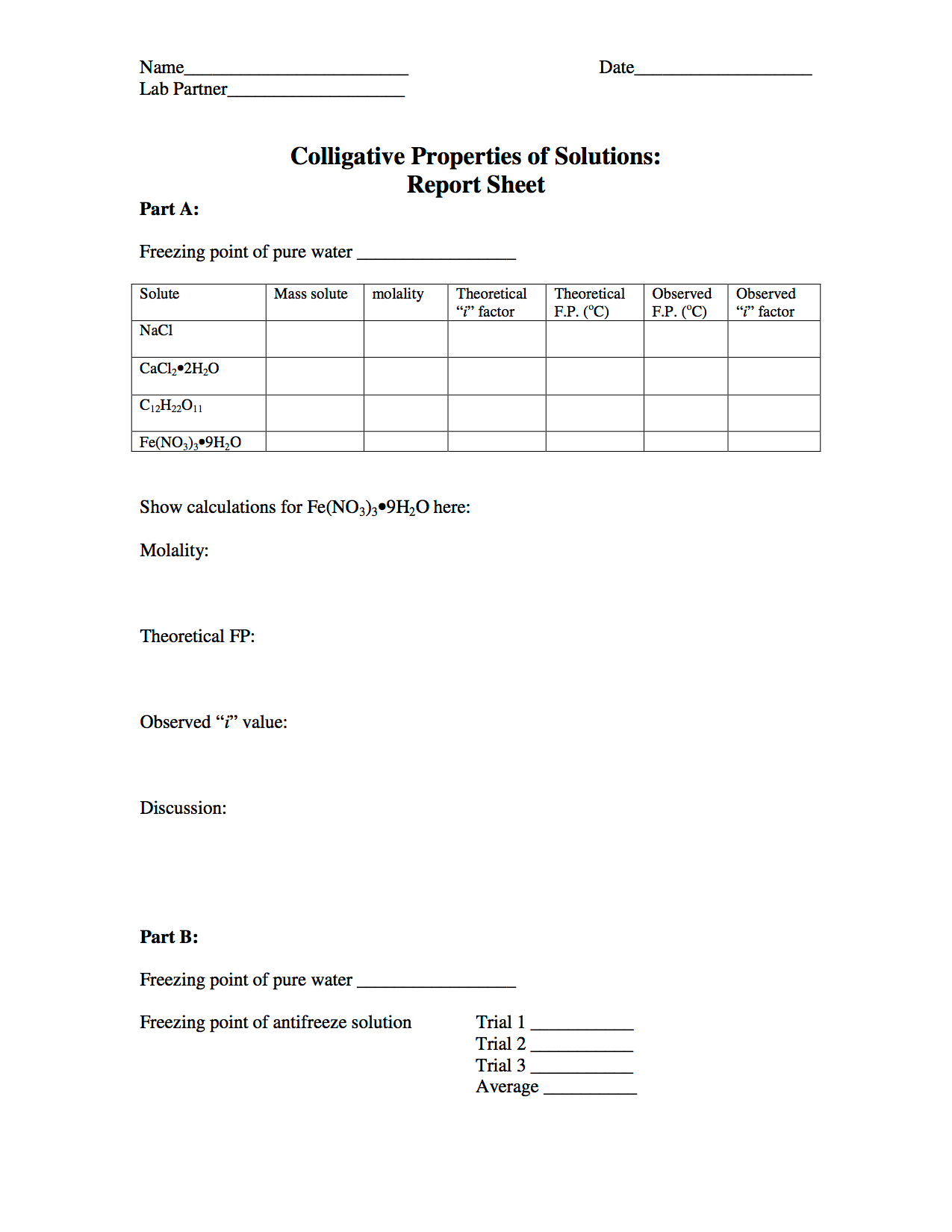 colligative properties lab report