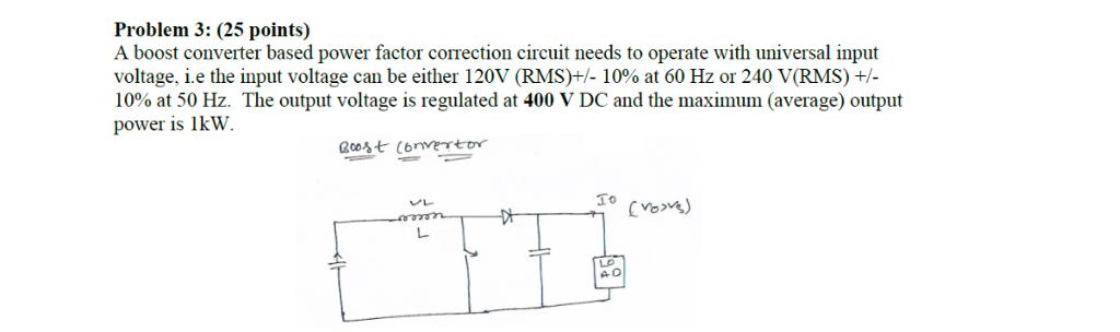 solved problem 3 (25 points) a boost converter based pow power factor formula a boost converter based power factor