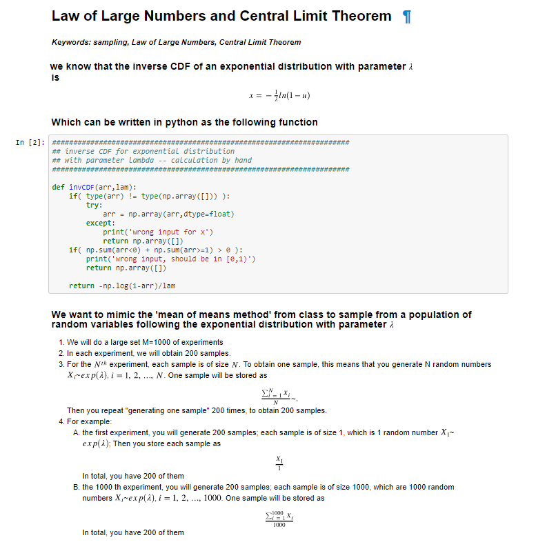 Law Of Large Numbers And Central Limit Theorem Key