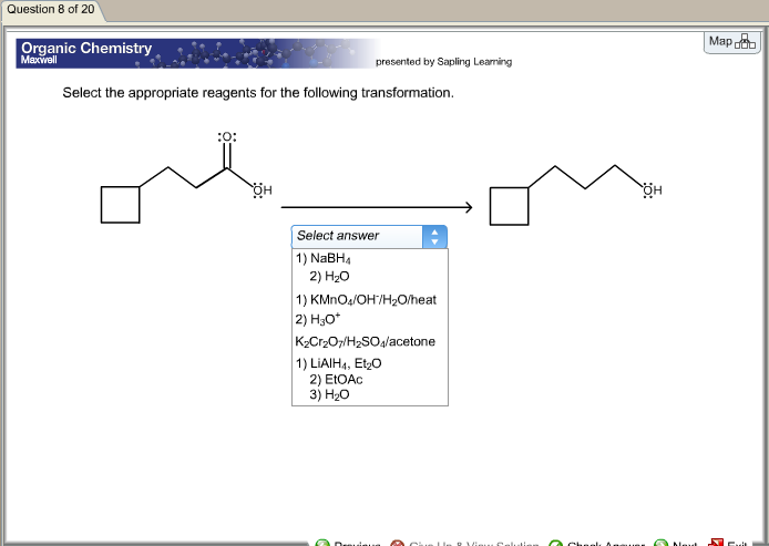 Chemistry archive march 17 2017 chegg question 8 of 20 organic chemistry maxwell presented by sapling learning select the appropriate reagents for fandeluxe Images