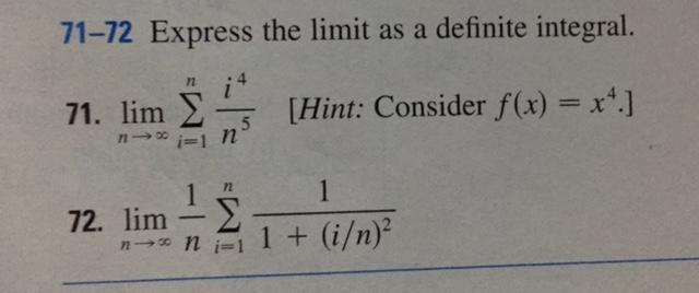 Solved: 71-72 Express The Limit As A Definite Integral. Li ...