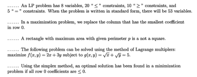 Solved: An LP Problem Has 8 Variables, 20