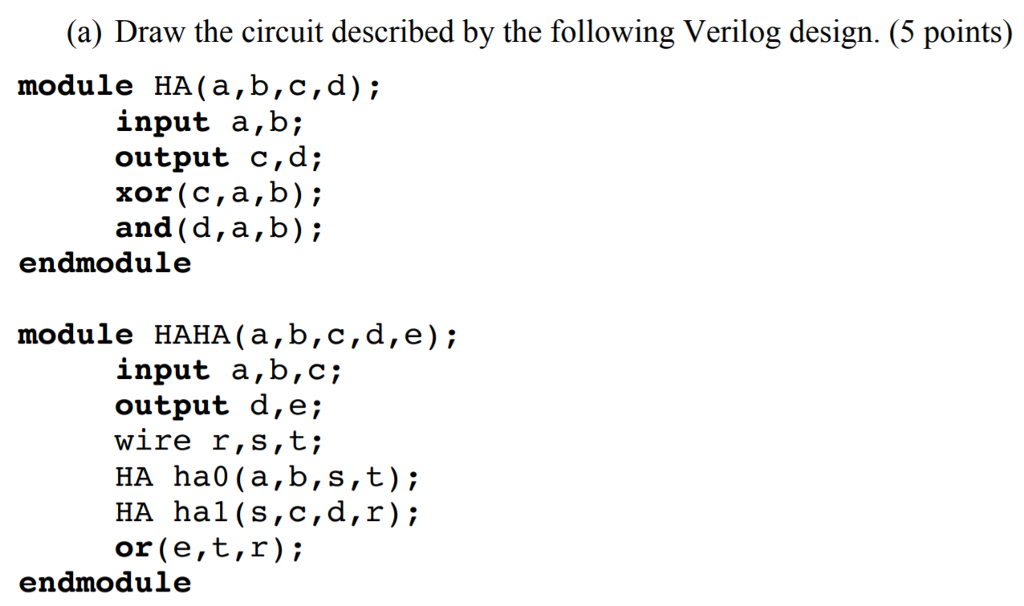 Solved: (a) Draw The Circuit Described By The Following Ve