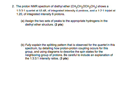 Solved 2 The Proton Nmr Spectrum Of Diethyl Ether Ch3ch