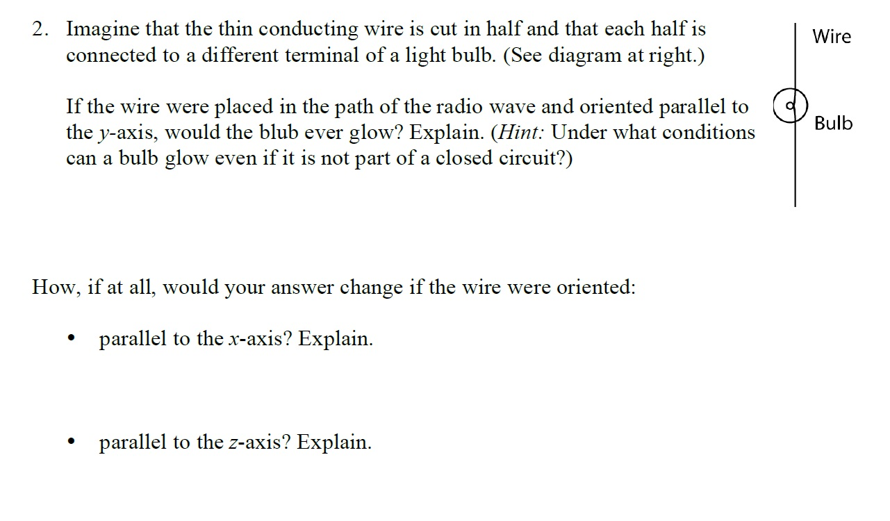Solved Imagine That The Thin Conducting Wire Is Cut In Ha Diagram