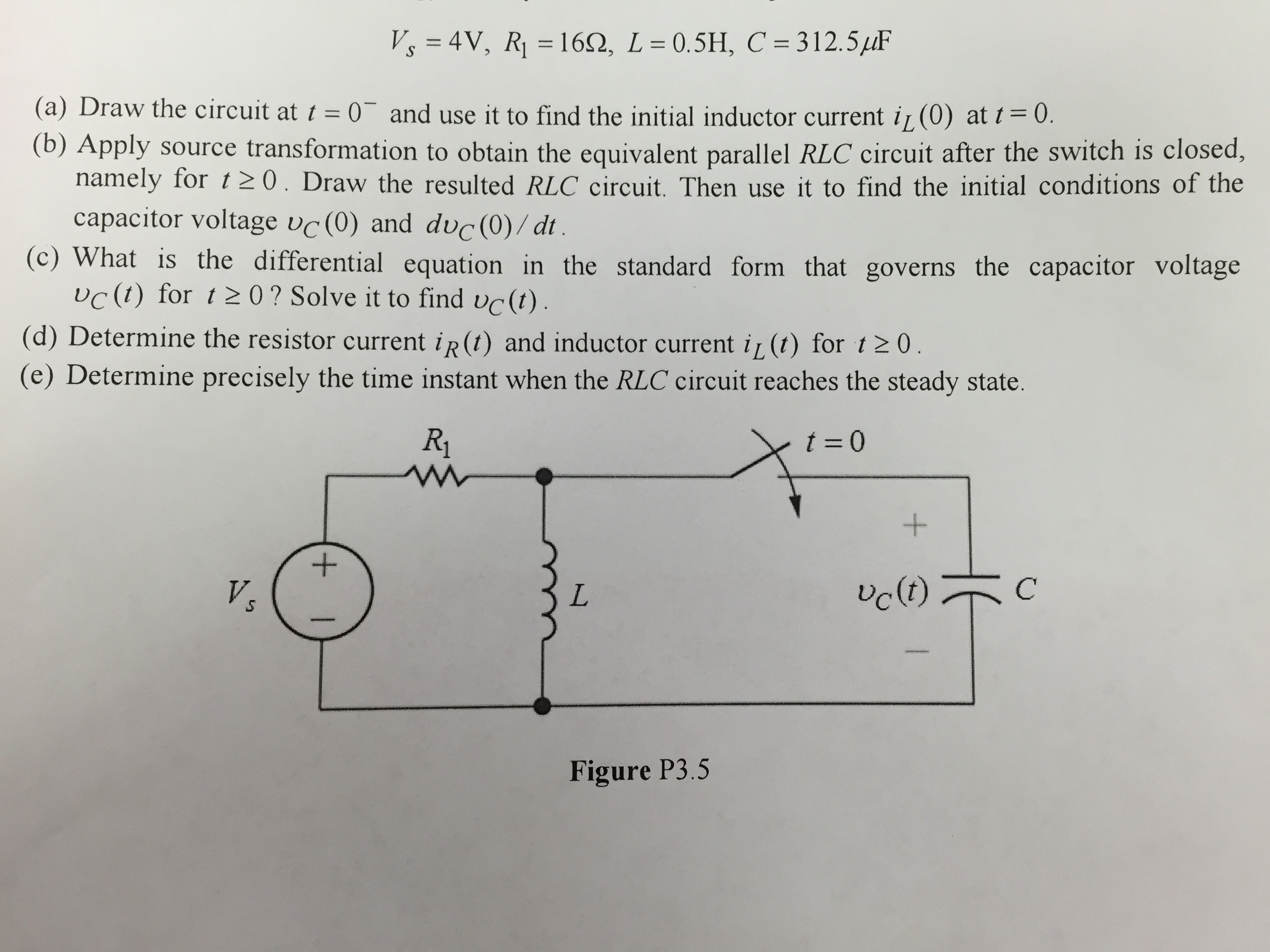 Solved: The Switch In The RLC Circuit Is Closed At T=0 Aft ...