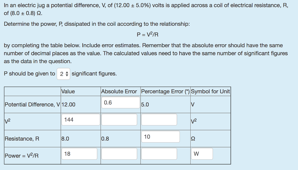Solved In An Electric Jug A Potential Difference V Of