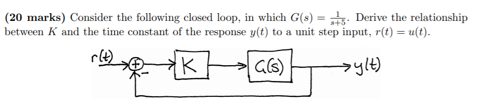 (20 marks) Consider the following closed loop, in which G(s) Derive the relationship between K and the time constant of the response y(t) to a unit step input, r(t) u(t) rle)