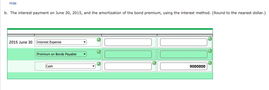 bond premium  entries for bonds payable transactio