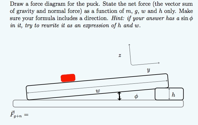 solved draw a force diagram for the puck state the net f rh chegg com Force Vector Direction Force Vector Direction