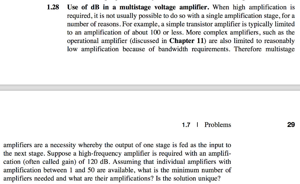 1.28 Use of dB in a multistage voltage amplifier. When high amplification  is required,