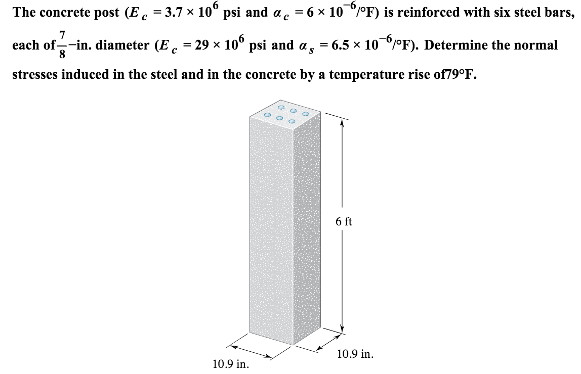 491fff212bf10 Diameter (Ec=29*106 psi and as=6.5*10-6/F). Determine the normal stress  induced in the steel and in the concrete by a tempreture rise of 79F.
