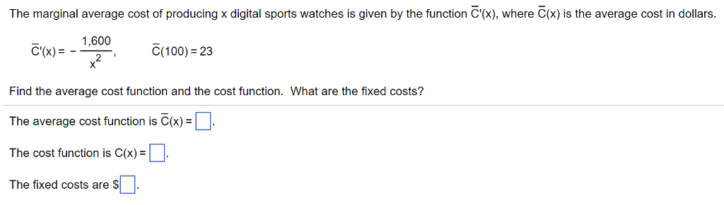how to find marginal average cost