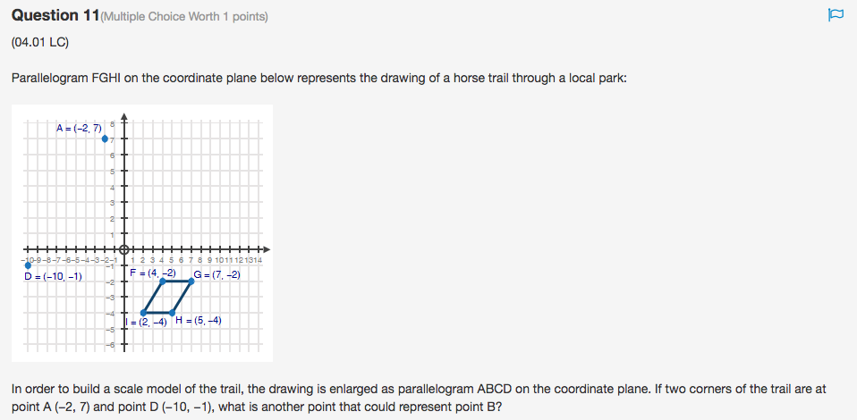 Question 11 (Multiple Choice Worth 1 points) (04.01 LC) Parallelogram FGHI  on 10242ee46