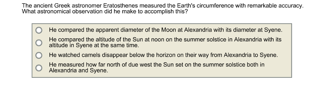 how did eratoshenes measured the circumference of the earth essay Eratosthenes also made a surprisingly accurate measurement of the earth's circumference, detailed in his treatises, on the measurement of the earth, which is also lost he assumed that the sun was so far away that its rays were essentially parallel, and then with a knowledge of the distance between syene and alexandria, he gave the.
