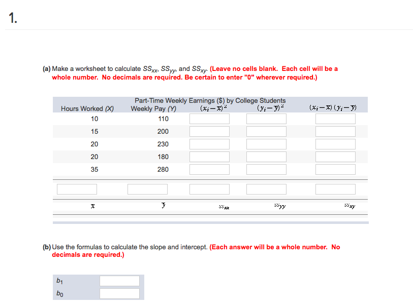 Solved A Make A Worksheet To Calculate Ssx Ssyy And Ssx