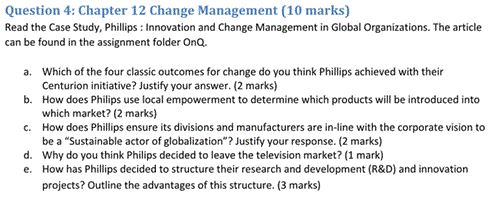 Solved: Read The Case Study, Phillips: Innovation And Chan