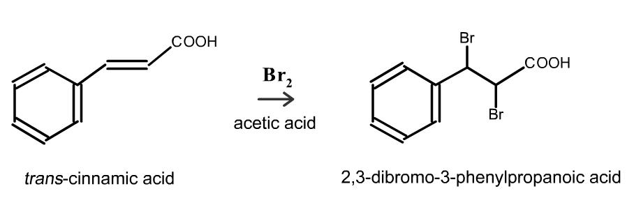 trans cinnamic acid bromination