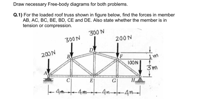Solved Draw Necessary Free Body Diagrams For Both Problem