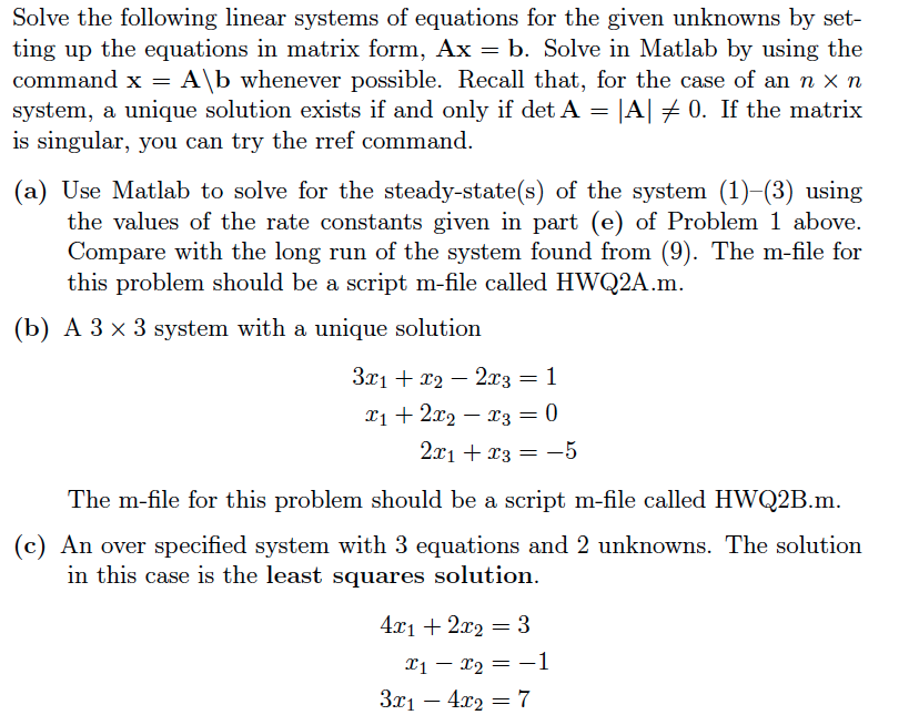 Solved: Solve The Following Linear Systems Of Equations Fo