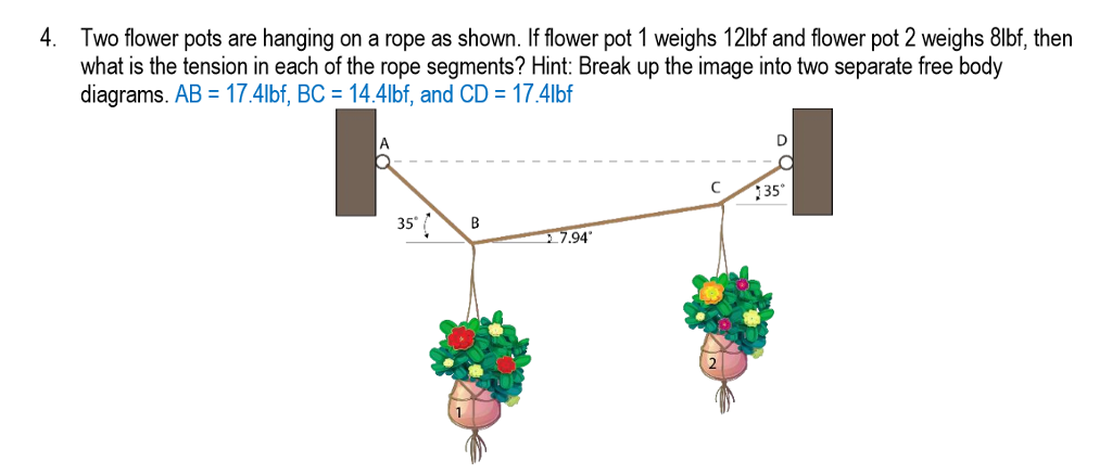 Solved 4 two flower pots are hanging on a rope as shown two flower pots are hanging on a rope as shown if flower pot ccuart Choice Image