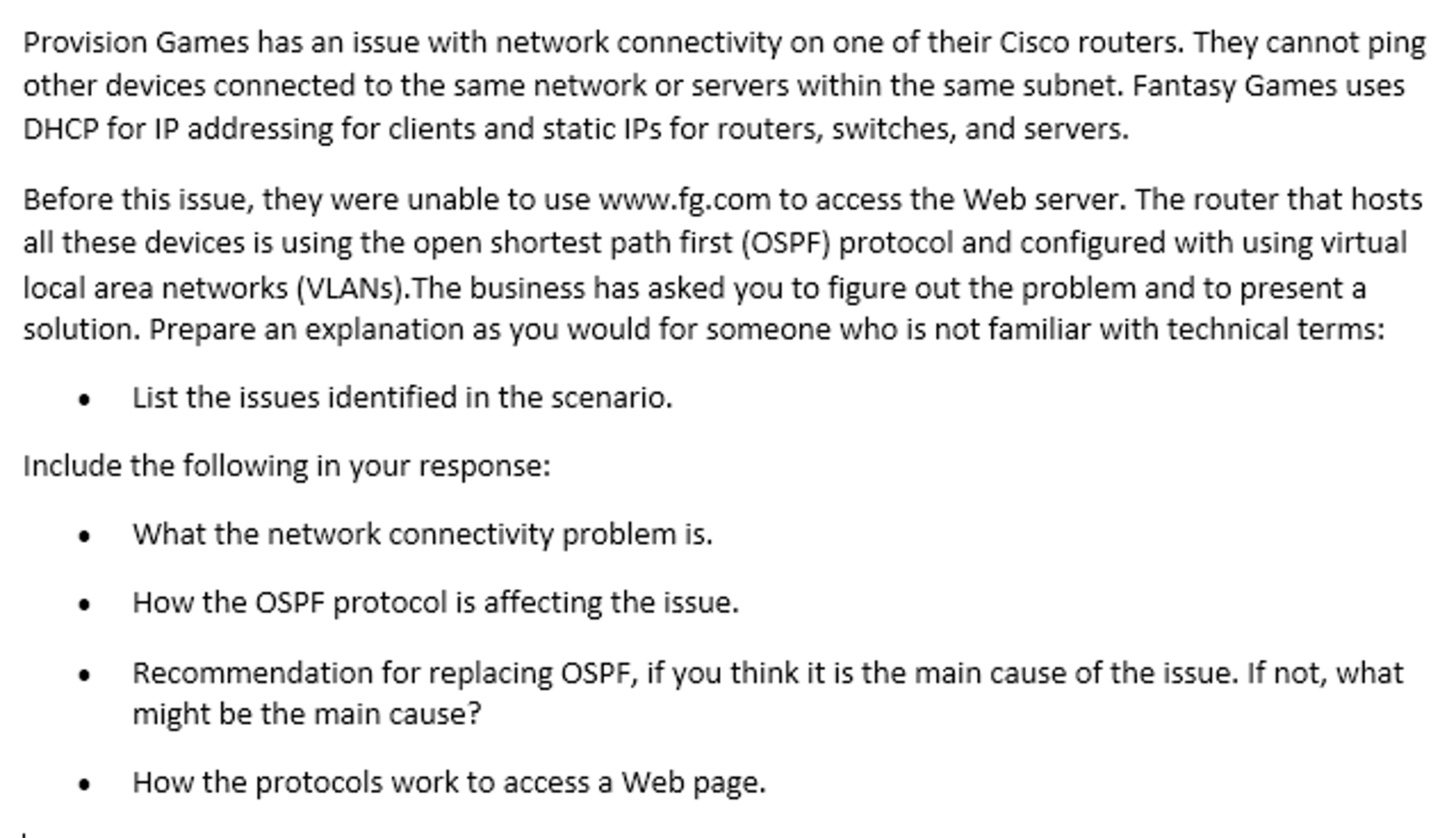 Provision Games Has An Issue With Network Connecti    | Chegg com