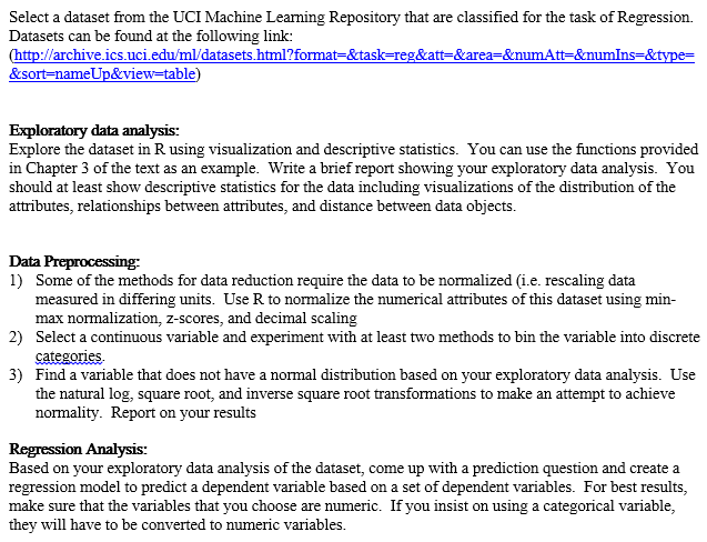 Select A Dataset From The UCI Machine Learning Rep