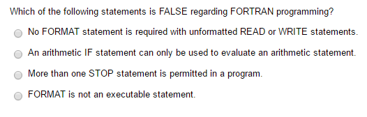 Solved: Which Of The Following Statements Is FALSE Regardi